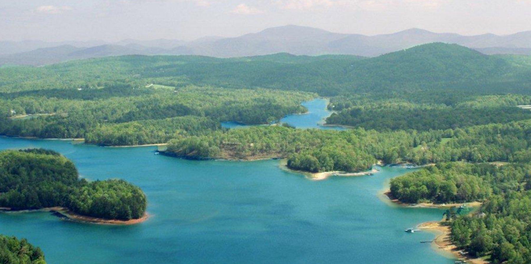 blue ridge lake areal view